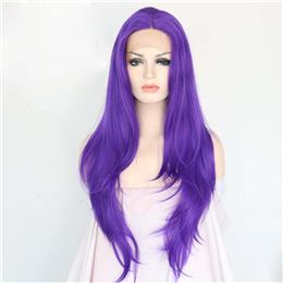 Purple Color Glueless Heat Resistant people hairline Masquerade party Synthetic Lace Front Wig